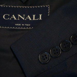 Canali Blue Microplaid Wool Sport Coat Jacket 44R